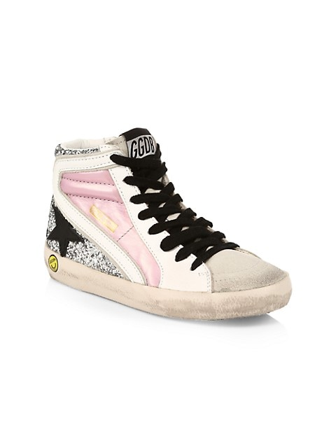 Girl's High-Top Slide Laminated & Glitter Leather Star Sneakers