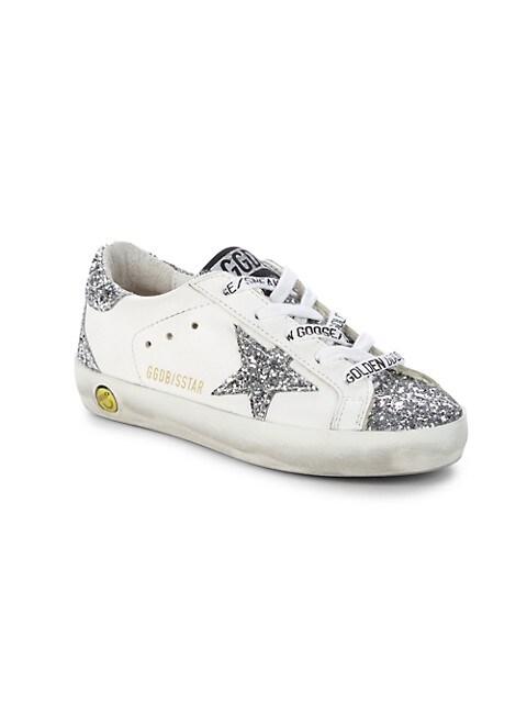 Shop Golden Goose Kid's Superstar Glitter Leather Sneakers | Saks ...