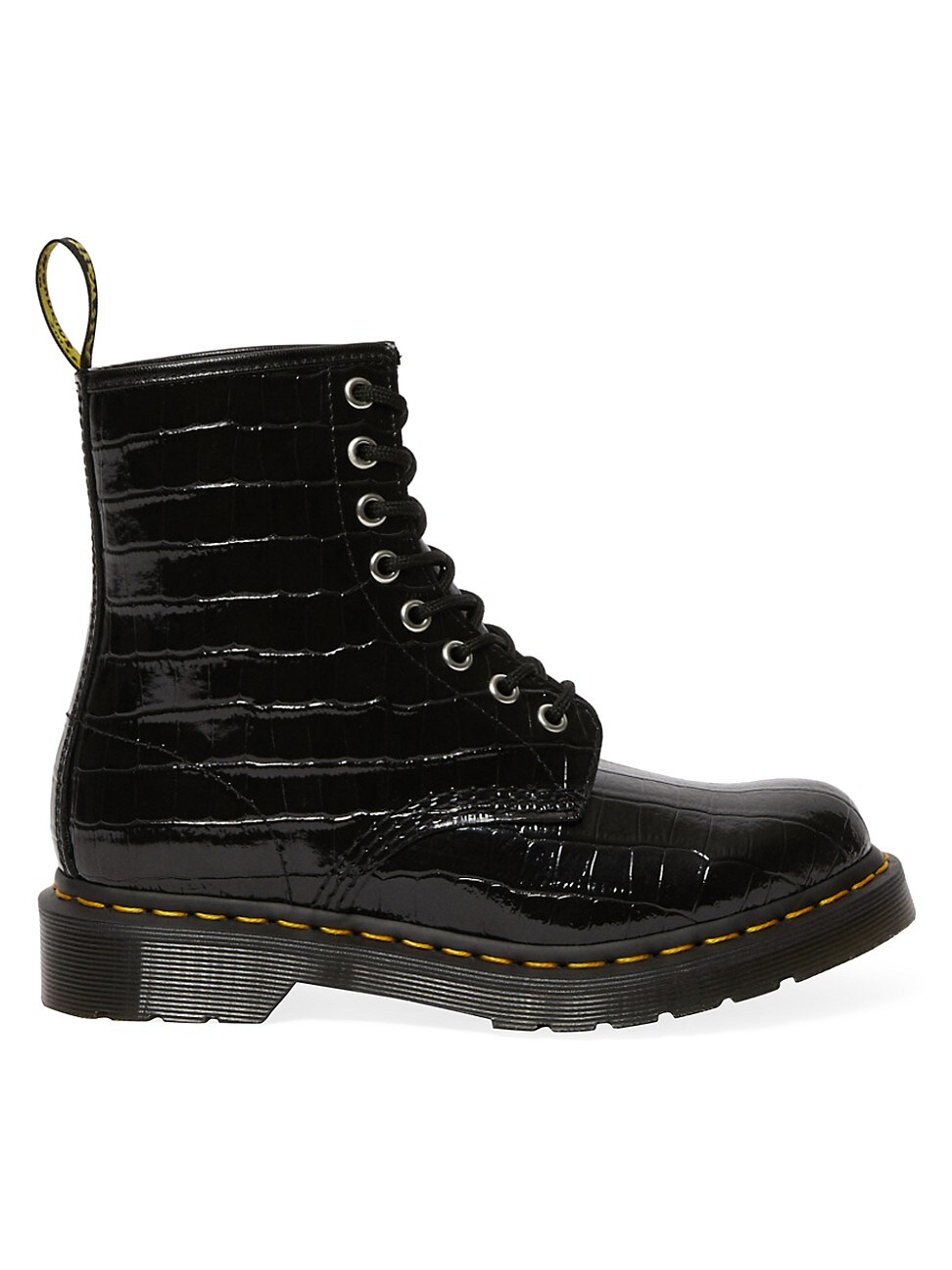 Dr. Martens WOMEN'S 1460 CROC-EMBOSSED PATENT LEATHER COMBAT BOOTS