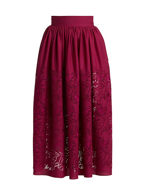 Pointelle Wool Midi Skirt
