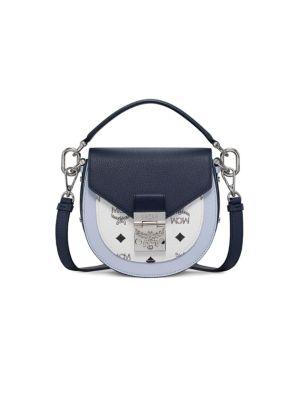 Mcm Small Patricia Visetos Leather Saddle Bag