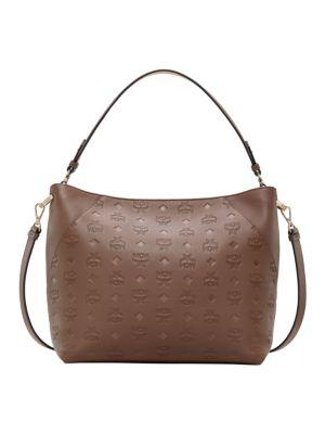 Mcm Medium Klara Monogram Leather Hobo Bag