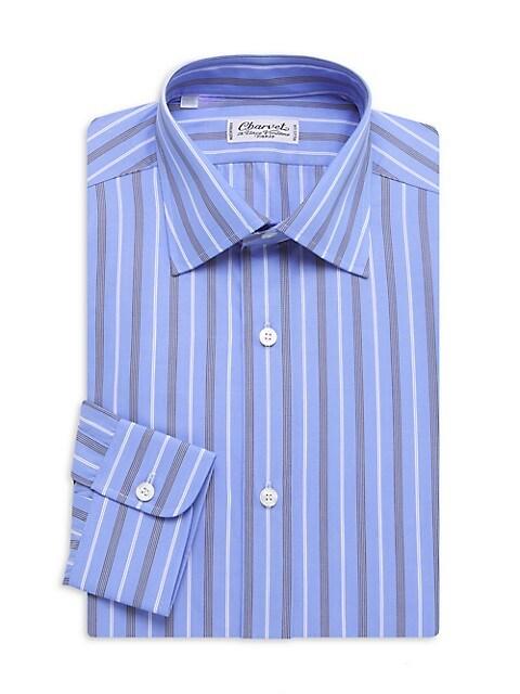 Bold Wide Contrast Striped Silk Dress Shirt