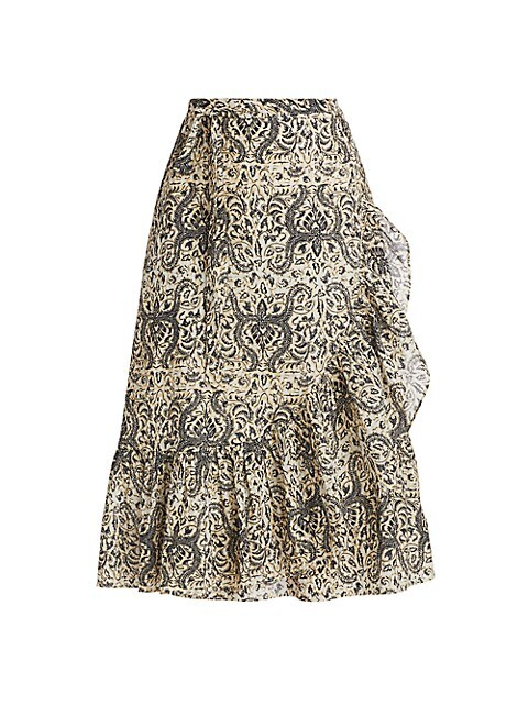 Aurora Ruffle Trim Midi Skirt
