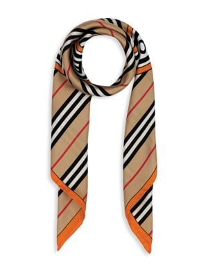Burberry Women's Icon Stripe & Logo Graphic Silk Scarf In Beige