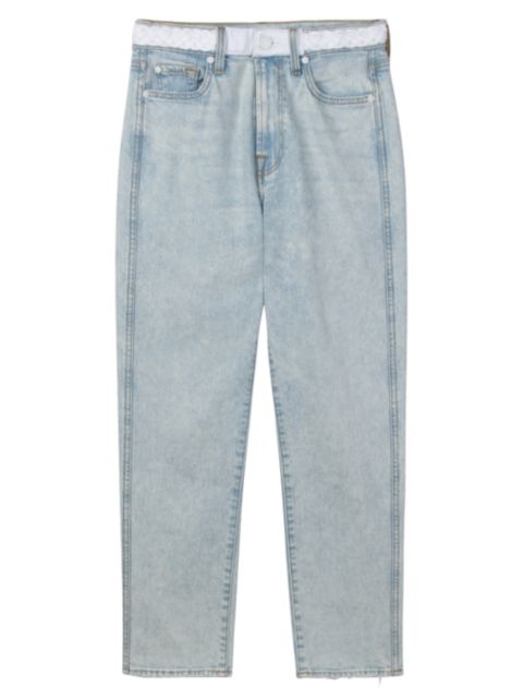 7 For All Mankind High-Rise Straight Cropped Jeans | SaksFifthAvenue