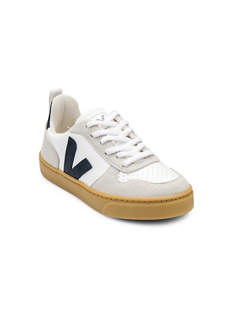 Kid's V-Logo Cotton Leather Coated Lace-Up Sneakers