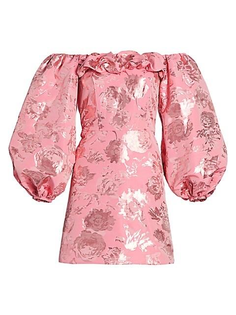 Dora Brocade Off-The-Shoulder Mini Dress