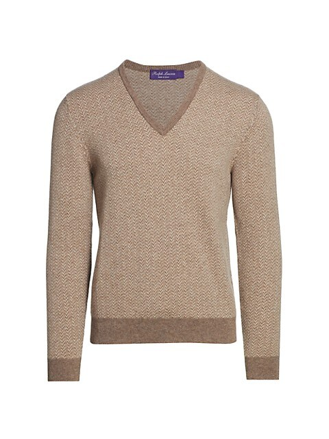 Pattern V-Neck Cashmere Sweater