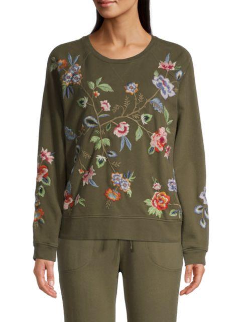 Johnny Was Renata Raglan Embroidered Sweatshirt   SaksFifthAvenue