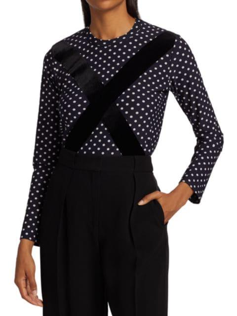 Comme des Garcons Comme des Garcons Velvet Criss-Cross Polka-Dot Shirt | SaksFifthAvenue