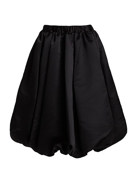 Satin Bubble-Hem Midi Skirt