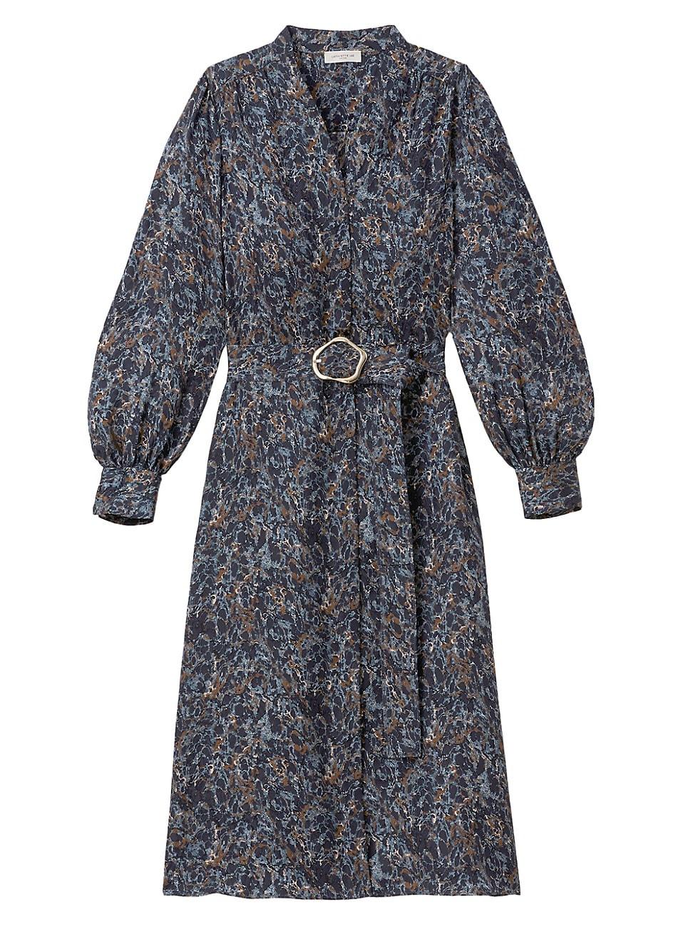 Lafayette 148 WOMEN'S CLEMENTINE MARBLE-PRINT SILK DRESS