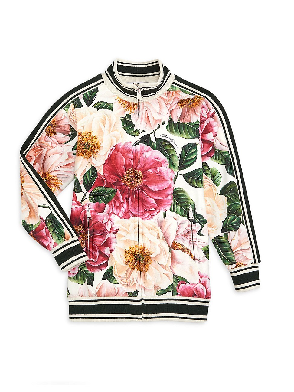 Dolce & Gabbana LITTLE GIRL'S & GIRL'S FLORAL ZIP-UP SWEATER
