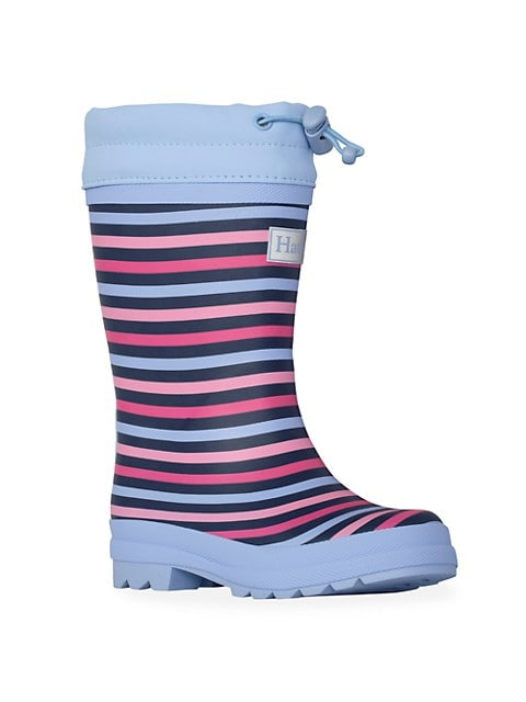 Baby's, Little Girl's & Girl's Striped Sherpa Lined Rain Boots