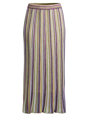 M Missoni Lurex Stripe Knit Midi Skirt