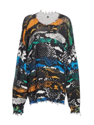 R13 Cottons Snake Print Oversized Sweater