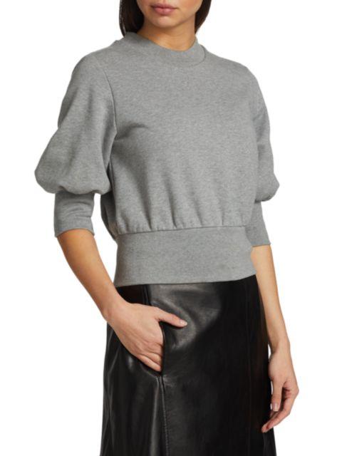 3.1 Phillip Lim Puff-Sleeve Cropped Sweatshirt   SaksFifthAvenue