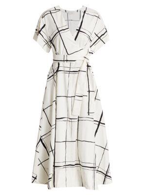 3.1 Phillip Lim Windowpane Wrap Midi Dress