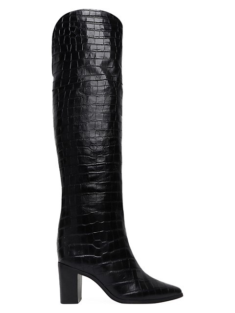 Anaisha Over-The-Knee Croc-Embossed Leather Boots
