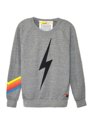 Aviator Nation Women's Bolt Chevron Crew Sweatshirt In Heather Neon Rainbow