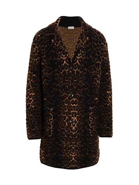 Leopard-Print Wool-Blend Coat