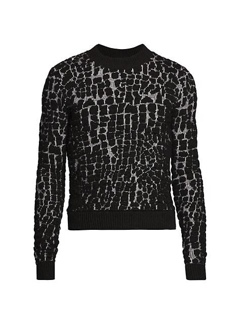 Textured Wool-Blend Crewneck Sweater