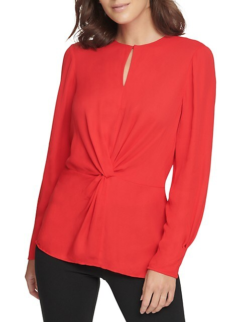 Center Knot Keyhole Blouse