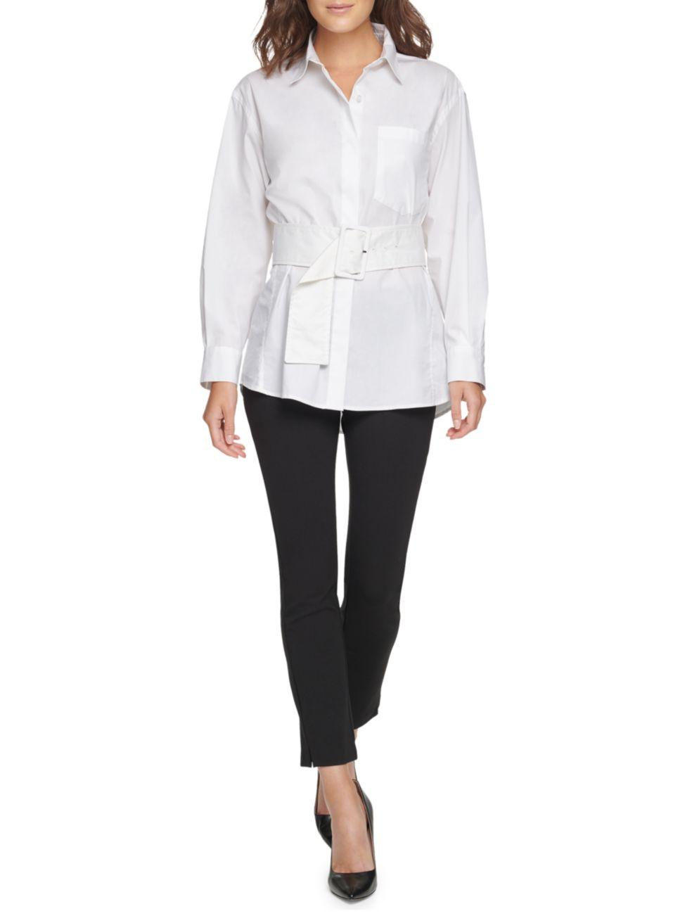Donna Karan New York Belted Poplin Shirt   SaksFifthAvenue