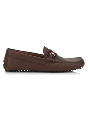 Gucci Ayrton Leather & Web Driver Loafers