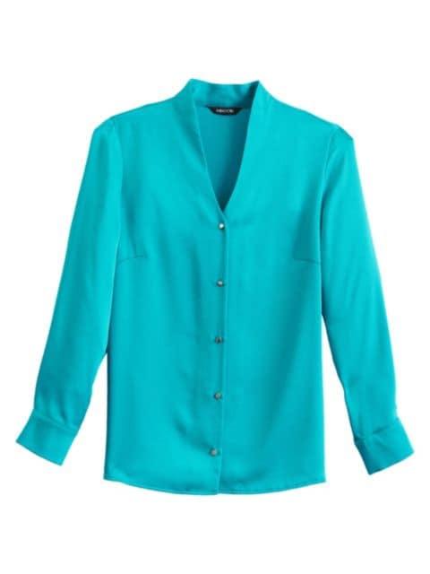Misook V-Neck Button-Up Blouse   SaksFifthAvenue