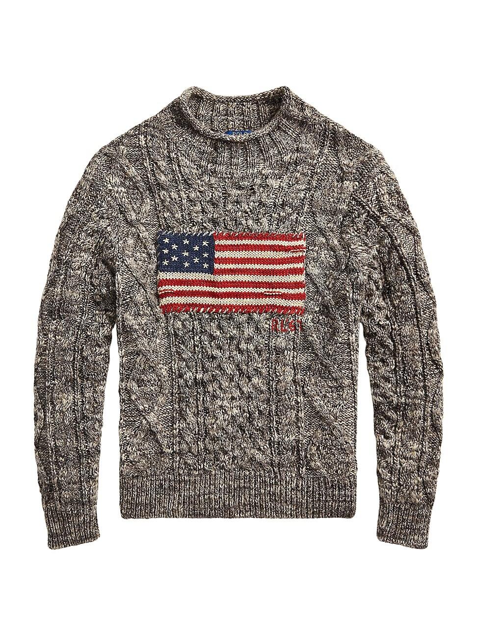 RALPH LAUREN MEN'S AMERICAN FLAG WOOL-BLEND SWEATER
