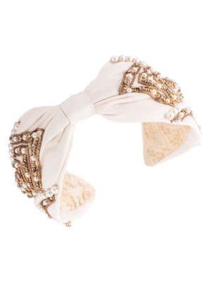 Namjosh Women's Pearl Embellished Silk Headband In Ivory