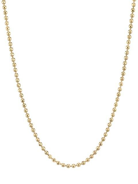 14K Yellow Gold Ball Beaded Heavy Bolita Necklace