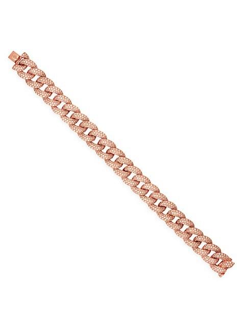 14K Rose Gold & Diamond Pavé Large Link Bracelet