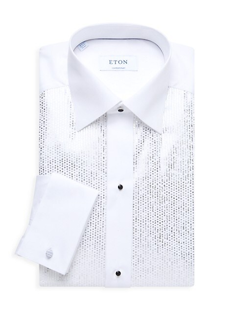 Metallic Bib Slim-Fit Evening Shirt