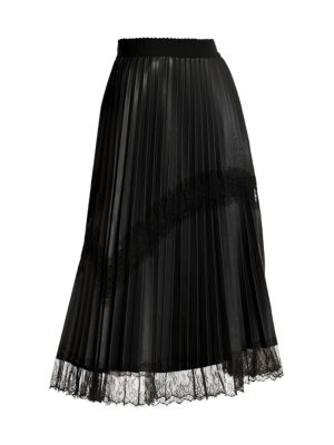 Marina Rinaldi Lace Trim Faux-Leather Pleated Midi Skirt