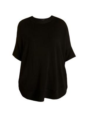 Marina Rinaldi Short-Sleeve Oversized Sweater