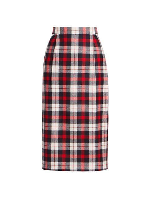 Super High Waist Tartan Check Pencil Skirt