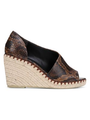 Vince Sonora Peep-Toe Snakeskin-Embossed Leather Espadrille Wedge Sandals