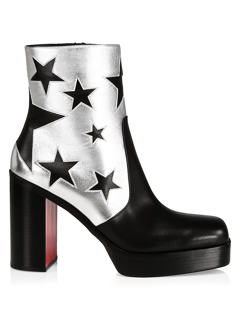 Christian Louboutin Men's Stage Leather Platform Starboots In Black Silver