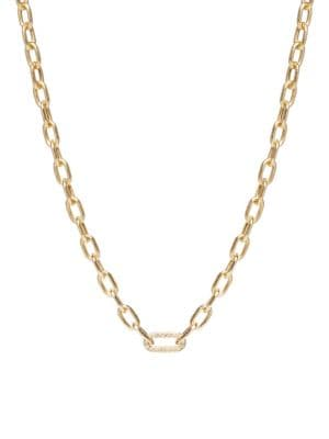 Zoë Chicco Women's 14k Yellow Gold & Diamond Medium Square-oval Link Necklace