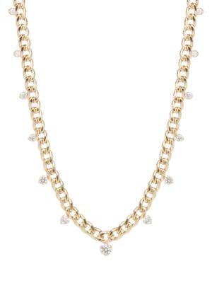 Zoë Chicco Women's 14k Yellow Gold & Diamond Drops Medium Curb-link Necklace