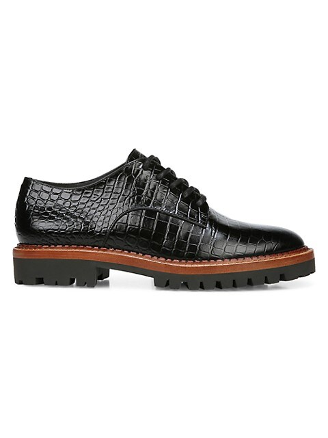 Camilla Croc-Embossed Leather Oxfords