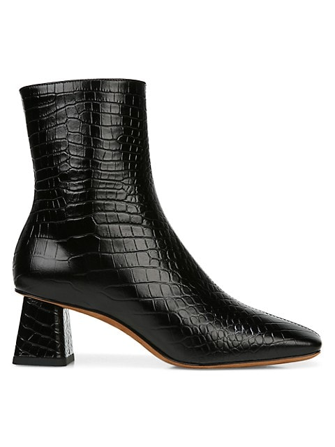 Vince Koren Square-Toe Croc-Embossed Leather Ankle Boots