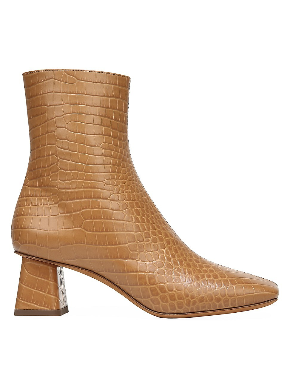 VINCE WOMEN'S KOREN SQUARE-TOE CROC-EMBOSSED LEATHER ANKLE BOOTS