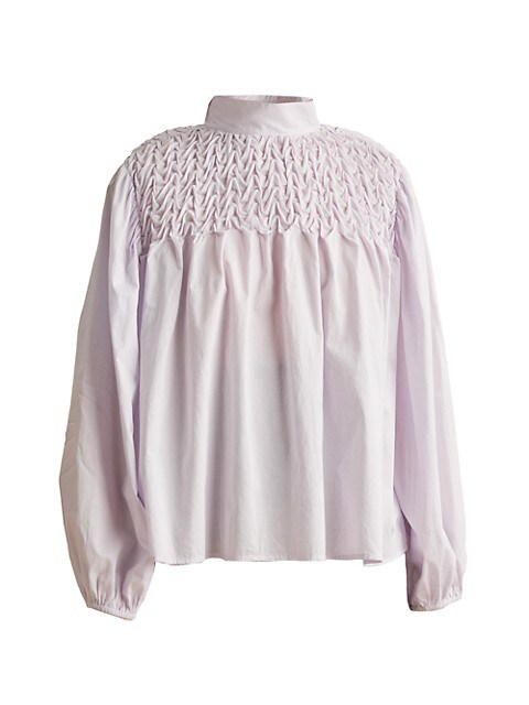Paveley Wave Smocked Cotton Blouse
