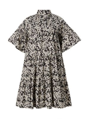 Merlette Astell Tiered Floral Cotton Trapeze Dress