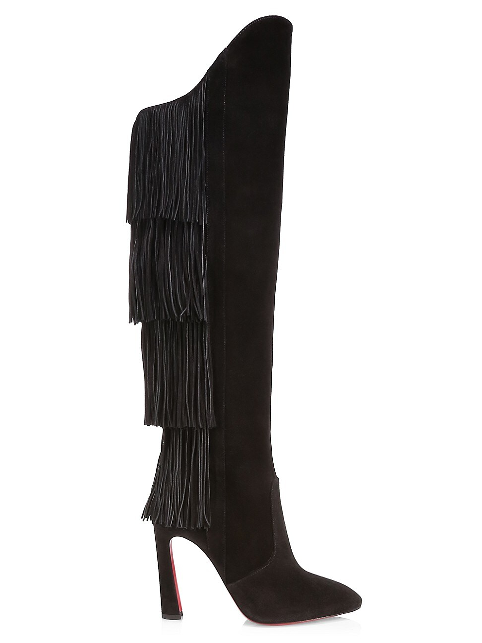Christian Louboutin Boots WOMEN'S LIONNE TALL FRINGE SUEDE BOOTS