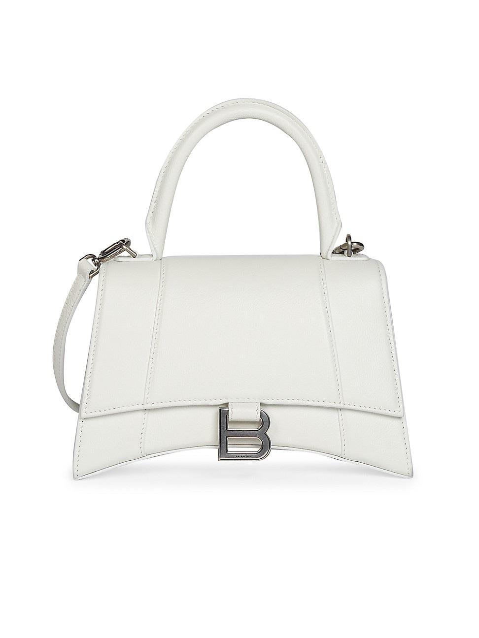 Balenciaga Women's Hourglass Leather Top Handle Bag In White